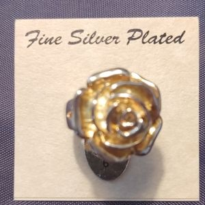 Fine Silver Plated Rose Ring Gold tone